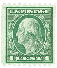 1915 1c Washington, green, horizontal perf 10