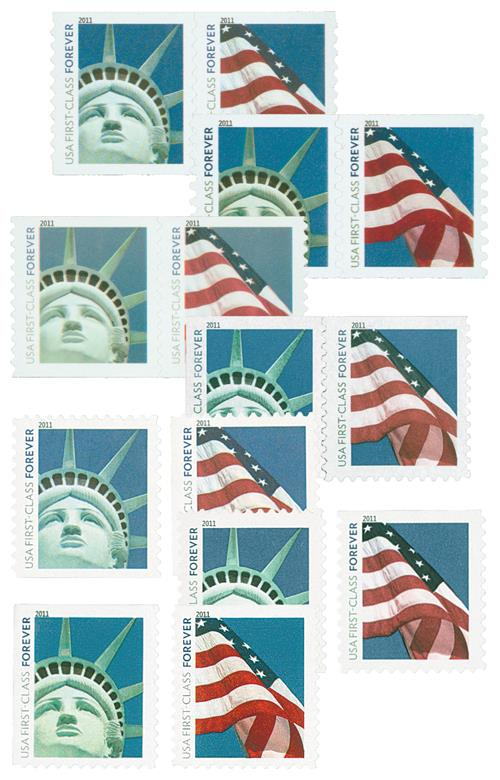 2010-11 Lady Liberty and US Flag, collection of 14 stamps
