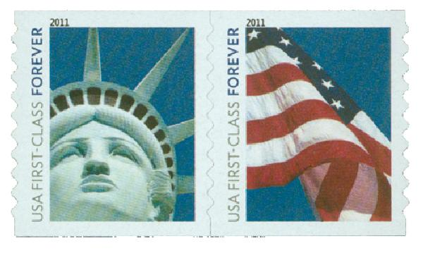 2010 First-Class Forever Stamp - Lady Liberty and U.S. Flag  (Ashton Potter)