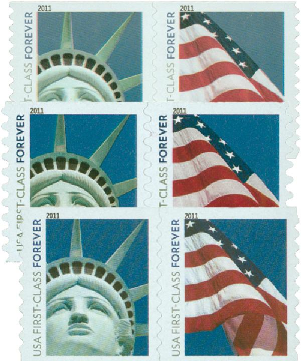 2010 Lady Liberty and US Flag, set of 6 stamps