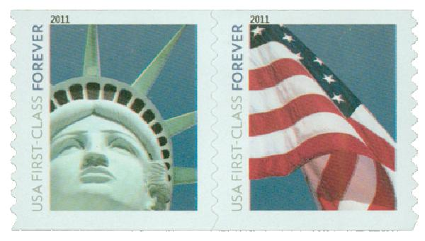 2010 First-Class Forever Stamp - Lady Liberty and U.S. Flag (Avery Dennison)