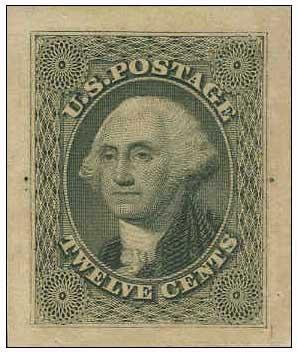 1857-60 Greenish Black, Yellowish Wove Paper - Panama Pacific Small Die Proof