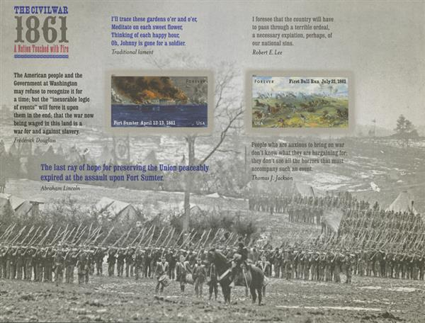 2011 44c Civil War Sesquicentennial: 1861 - Fort Sumter and First Bull Run (Front of Sheet only)