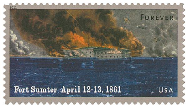 2011 First-Class Forever Stamp -  Civil War Sesquicentennial: Battle of Fort Sumter