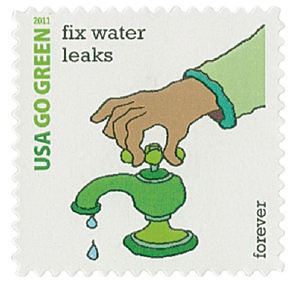 2011 First-Class Forever Stamp - Go Green: Fix Water Leaks