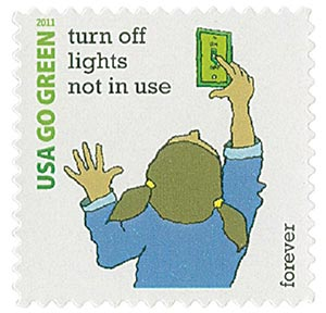 2011 First-Class Forever Stamp - Go Green: Turn Off Lights Not in Use