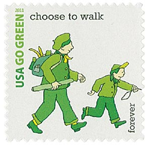 2011 First-Class Forever Stamp - Go Green: Choose to Walk