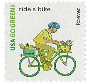 2011 First-Class Forever Stamp - Go Green: Ride a Bike