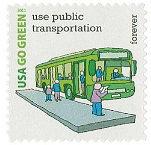 2011 First-Class Forever Stamp - Go Green: Use Public Transportation