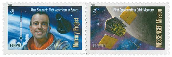 2011 First-Class Forever Stamp - Space Firsts: Mercury Project and Messenger Mission