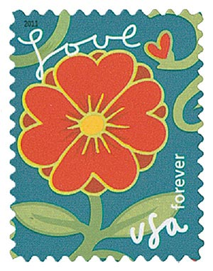 2011 First-Class Forever Stamp -  Garden of Love: Red Flower