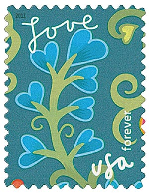 2011 First-Class Forever Stamp - Garden of Love: Blue Blossoms