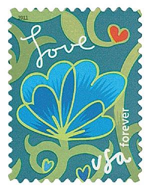 2011 First-Class Forever Stamp -  Garden of Love: Blue Flower