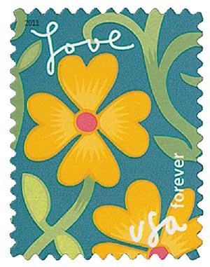 2011 First-Class Forever Stamp -  Garden of Love: Yellow Orange Fl