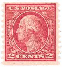 1915 2c Washington, carmine, veritcal perf 10, type III