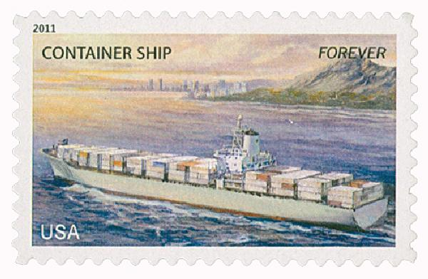 2011 First-Class Forever Stamp -  U.S. Merchant Marine: Container Ship