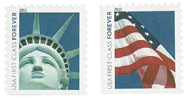 2011 First-Class Forever Stamp - Lady Liberty and U.S. Flag (Ashton Potter)