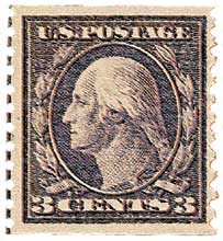 1916 3c Washington, violet, perf 10, type I