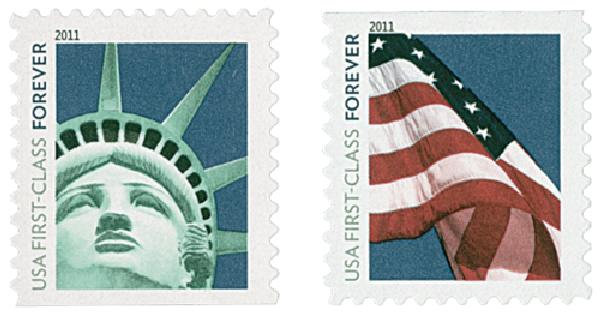 2011 First-Class Forever Stamp - Lady Liberty and U.S. Flag (Sennett Security Products)