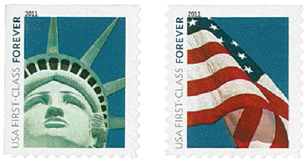 2011 First-Class Forever Stamp - Lady Liberty and U.S. Flag (Avery Dennison)
