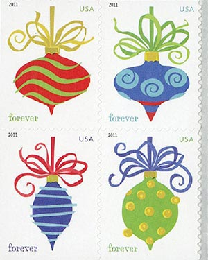 2011 44c First-Class Forever Stamp - Holiday Baubles, APU, block of 4 stamps