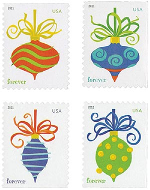 2011 First-Class Forever Stamp - Contemporary Christmas: Holiday Baubles (Convertible booklet)