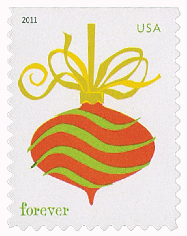 2011 First-Class Forever Stamp - Holiday Baubles: Green and Red Wavy Line Ornament (Convertible Booklet)