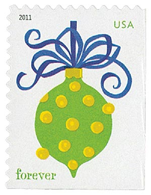2011 First-Class Forever Stamp - Holiday Baubles: Green and Yellow Spotted Ornament (Convertible Booklet)