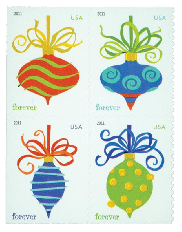 2011 44c First-Class Forever Stamp - Holiday Baubles, SSP, block of 4 stamps