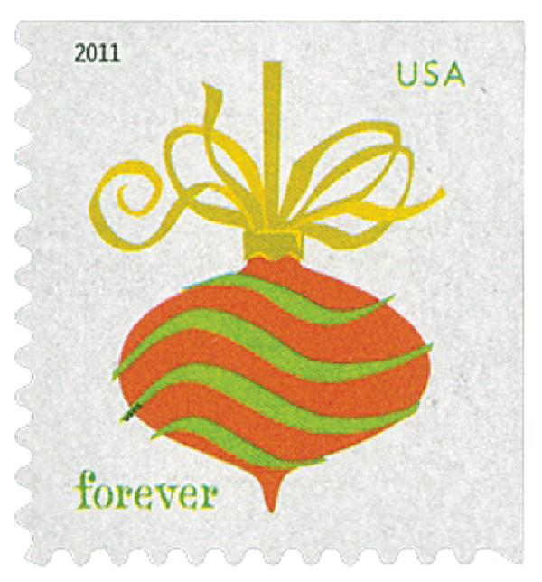 2011 First-Class Forever Stamp - Holiday Baubles: Green and Red Wavy Line Ornament (ATM Booklet)