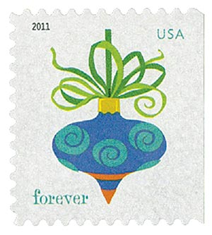2011 First-Class Forever Stamp - Holiday Baubles: Blue and Red Spiral Design Ornament (ATM Booklet)
