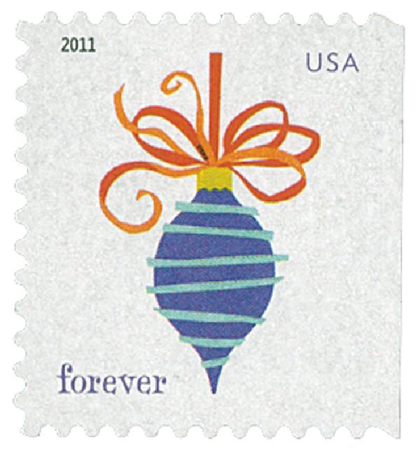 2011 First-Class Forever Stamp - Holiday Baubles: Blue Lines with Red Ribbon Ornament (ATM Booklet)