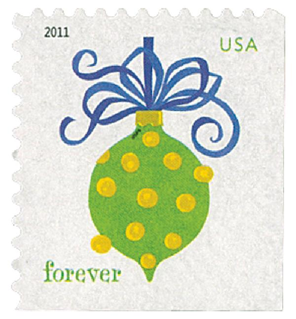 2011 First-Class Forever Stamp - Holiday Baubles: Green and Yellow Spotted Ornament (ATM Booklet)