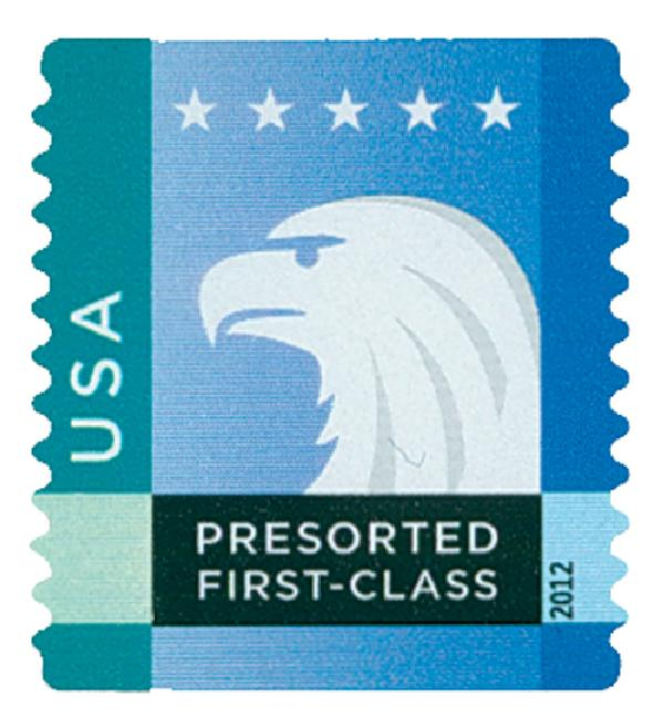 2012 25c Spectrum Eagle: Blue-Green behind USA