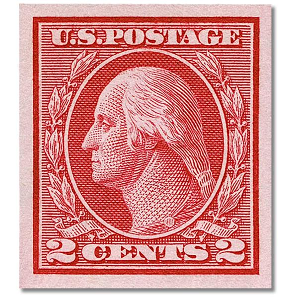 1914 2c Washington, Carmine, Type 1