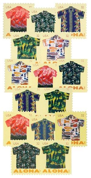 2012 32c Aloha Shirts, collection of 15 stamps
