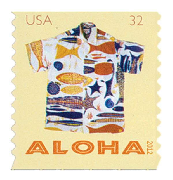2012 32c Aloha Shirts: Fish, Shells and Starfish, coil