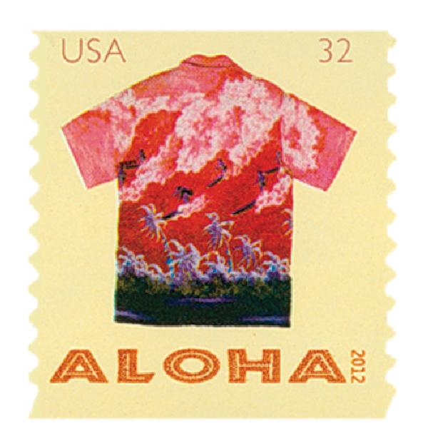 2012 32c Aloha Shirts: Surfers and Palm Trees, coil