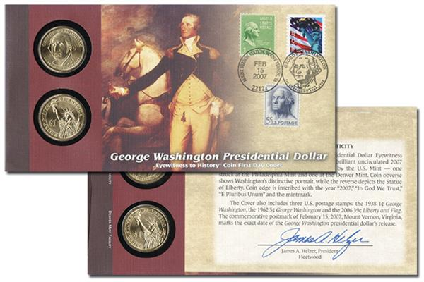 2007 George Washington Presidential $1 First Day Coin Cover