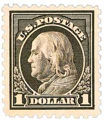 1915 $1 Franklin, violet black, double line watermark