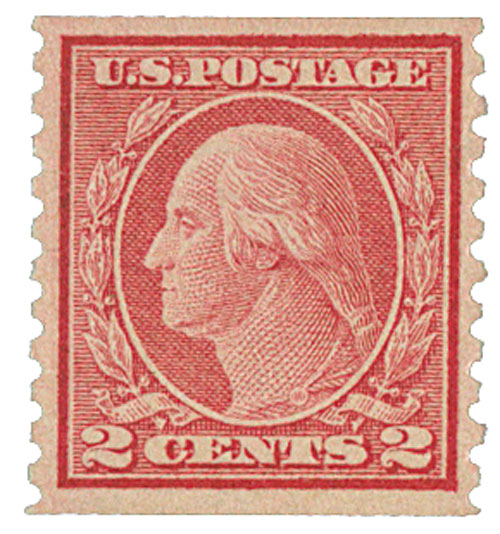 1915 2c Washington, pale carmine red, single line watermark