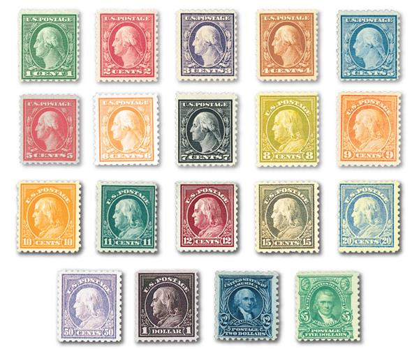 Complete Set, 1916-17 Unwatermarked Perforated 10