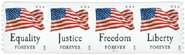 2012 First-Class Forever Stamp - U.S. Flags: Equality, Justice, Freedom and Liberty (Avery Dennison, coil)