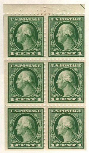 1916-17 1c Washington,bklt pane of 6