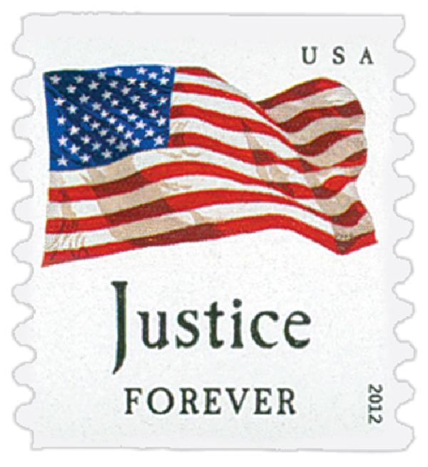 "2012 First-Class Forever Stamp - Flag and ""Justice"" (Avery Dennison)"