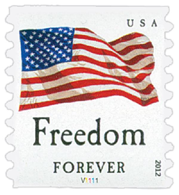 "2012 First-Class Forever Stamp - Flag and ""Freedom"" (Avery Dennison)"
