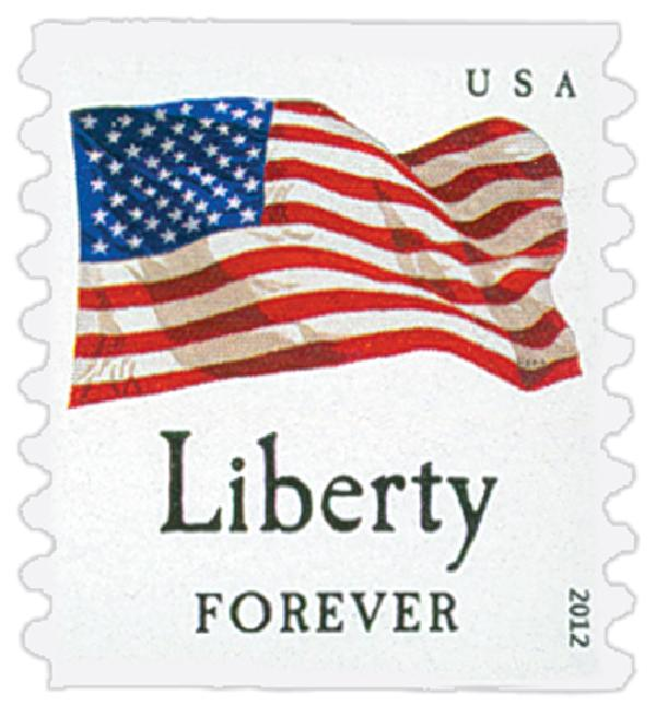 "2012 First-Class Forever Stamp - Flag and ""Liberty"" (Avery Dennison)"