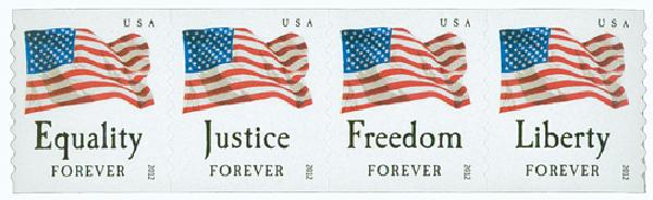 2012 First-Class Forever Stamp - U.S. Flags: Equality, Justice, Freedom and Liberty (Ashton Potter, coil)