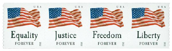 2012 First-Class Forever Stamp - U.S. Flags: Equality, Justice, Freedom and Liberty (Sennett Security Products, coil)
