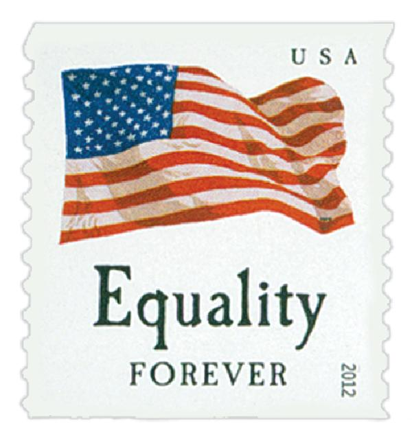 "2012 First-Class Forever Stamp - Flag and ""Equality"" (Sennett Security Products)"